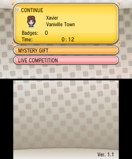 Pokémon X a Y Update 1.1 version